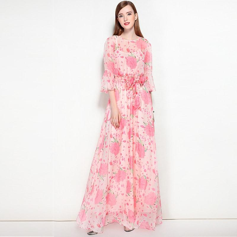 Платье на выпускной с растительным узором